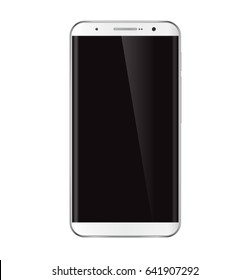White smartphone. Realistic mobile phone, cellphone with black screen isolated on white background. Bitmap copy