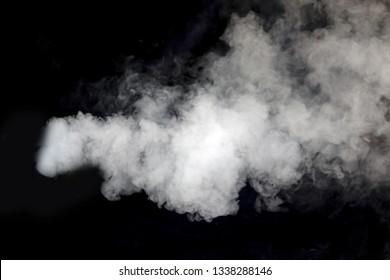white smoke blow on the black background