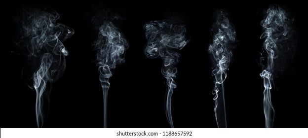 White smoke collection isolated on black background.