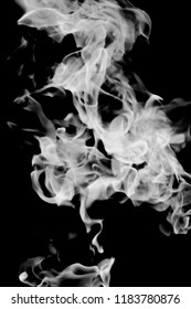 white smoke flame on a black background