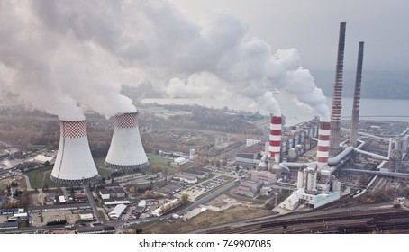 White smoke over power plant. Air pollution
