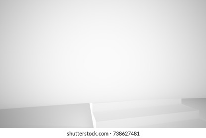 White smooth abstract architectural background. Night view with illumination. 3D illustration and rendering