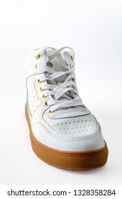 3a4333cf34c3 White sneakers with white background. Men s shoes. Composition with copy  space. Minimal natural