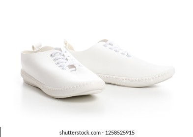 White sneakers shoes beauty on white background. Isolation