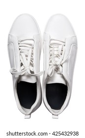 White sneakers shoes isolated on white background