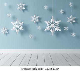 white snowflakes in blue room