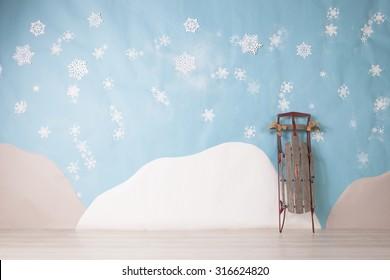white snowflakes on blue background set
