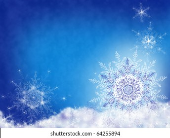 White snowflakes on blue snow background. Space for text. Carved fabulous snowflakes in the blue night sky.