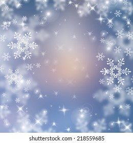 White snowflakes on a Christmas background. Space for text.