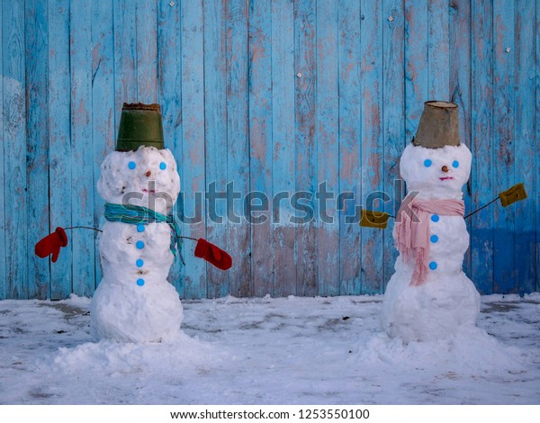 White Snowman Dressed Scarf Tin Bucket Stock Photo Edit Now 1253550100