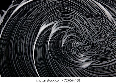 White soap texture. Nice white foam on black background. Handmade hipster foam texture. Abstract artistic soap background 110.