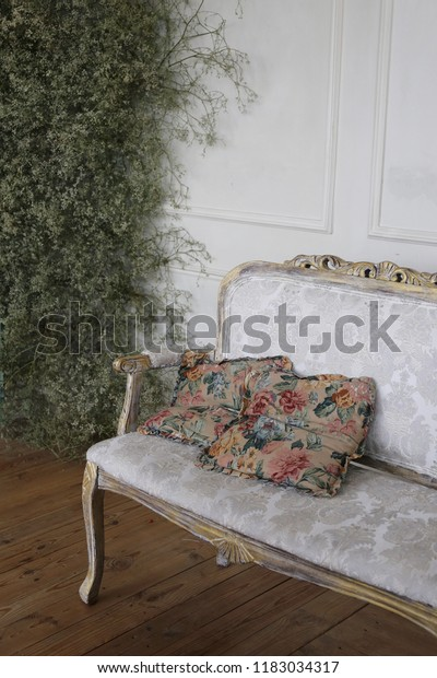 Brilliant White Sofa Flowers Print Pillows Near Stock Photo Edit Now Squirreltailoven Fun Painted Chair Ideas Images Squirreltailovenorg