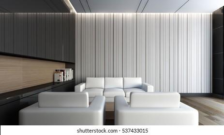 White sofa in the living room / 3D Rendering