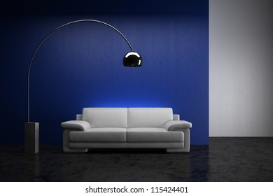 White sofa in the room - High quality render