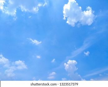 White soft cloud texture on blue sky background