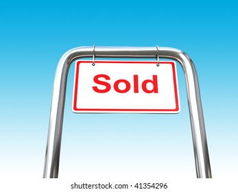 A white Sold sign on a metal pipe
