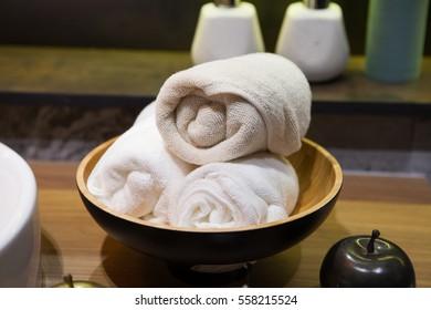 White spa towels in bathroom