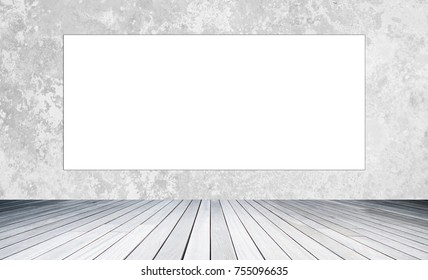 white space of empty billboard for advertising for advertisement on  half white wall