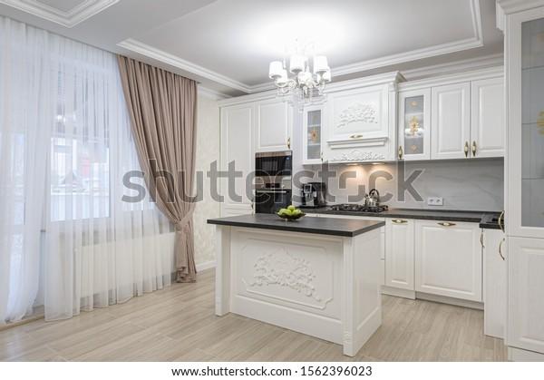 White Spacious Luxury Modern Kitchen Island Interiors Stock Image