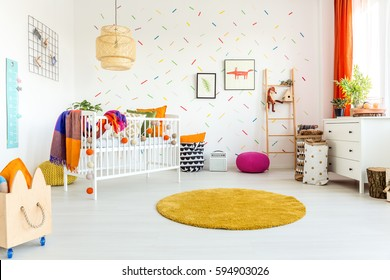 White spacious room designed for a little baby