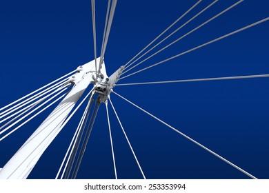 White span of bridge on blue sky, London, UK