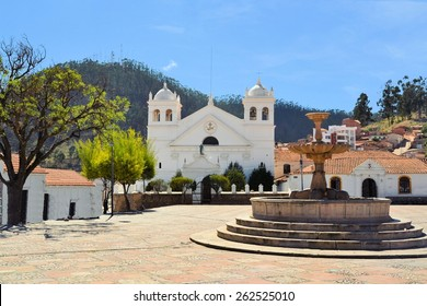 White Spanish colonial architecture in the small town Sucre, Bolivia