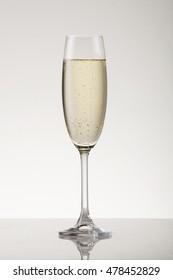 White sparkling wine in a champagne flute.