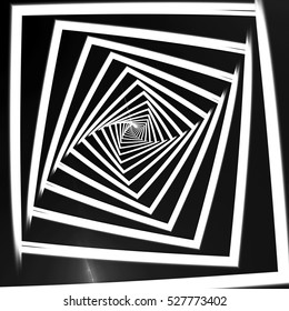 White spiral stripes on a black background, the optical illusion
