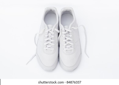 White sport shoes isolated on white background