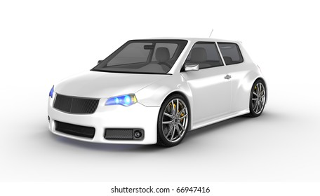 White sports car isolated on white. No trademark issues as the car is my own design. This is a detailed 3D render.