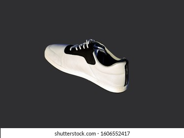 White sports cross shoe with black lace-up applique and thickened sole on a black background