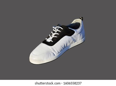 White sports cross shoe with black lace-up applique and thickened sole on a gray background
