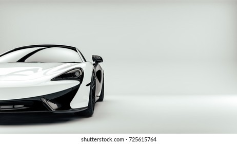 White sports luxury car front headlights detail (with overlay) - brandless - 3d illustration
