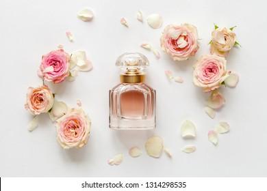 Weißer Frühlingshintergrund mit Rosen. Draufsicht