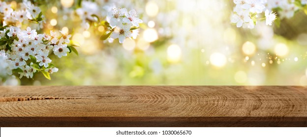 White spring flowers and golden light effects in a park with rustic wooden table for an easter decoration