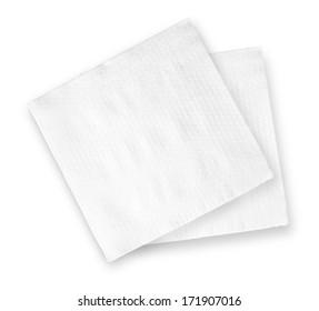 White Square Bar Napkin Isolated on White Background