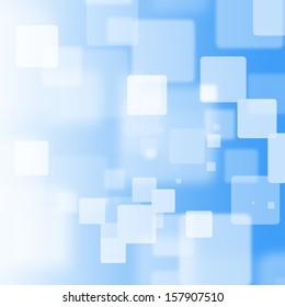 White square bokeh on blue background