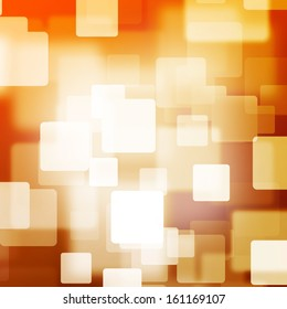 White square bokeh on orange and brown background with vignette