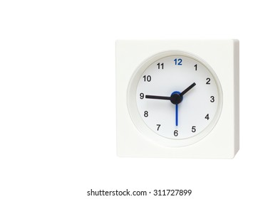 White Square clock isolated on white background. Time One and forty-five o'clock