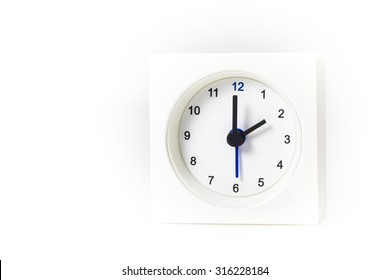 White Square clock isolated on white background. Time Two o'clock