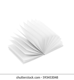 White square opened notepad with white pages isolated on white background