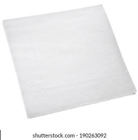 White Square paper napkin  isolated on white background