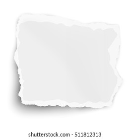 White square paper tear with soft shadow isolated on white background