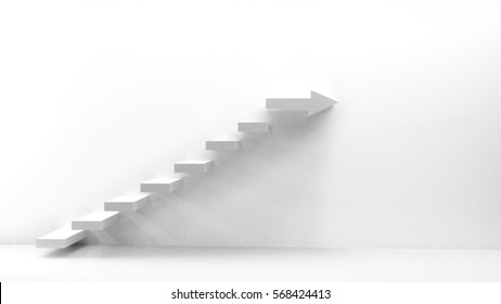 white staircase with arrow as top tread