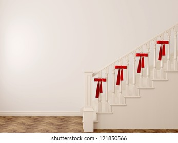 White staircase decorated for the holiday with red bows