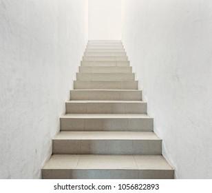White staircase in light  villa  interior