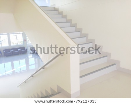 White Staircase Steps Interior Design With Steel Railing In A Modern Hotel  Hall, White Concrete