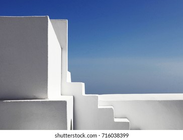 White stairs on Santorini, abstract