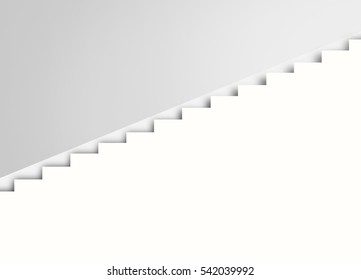 White stairs on the wall, abstract architecture, 3d interior background