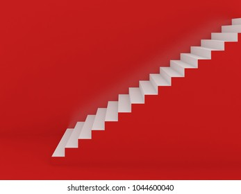 white stairs in red background ,3d rendering
